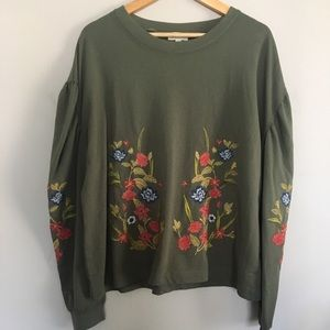Umgee Olive Green Embroidered Puff Sleeve Pullover